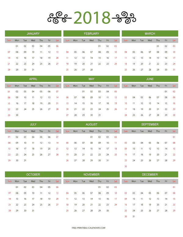 12 Month Colorful Calendar for 2018 Free Printable Calendars