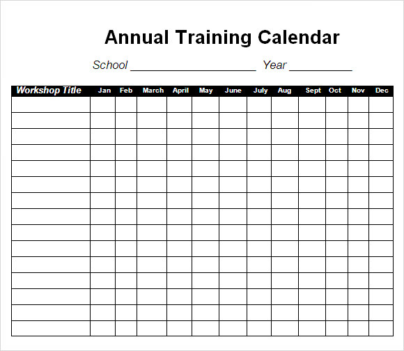 Impressive Annual Training Workout Program Calendar Template