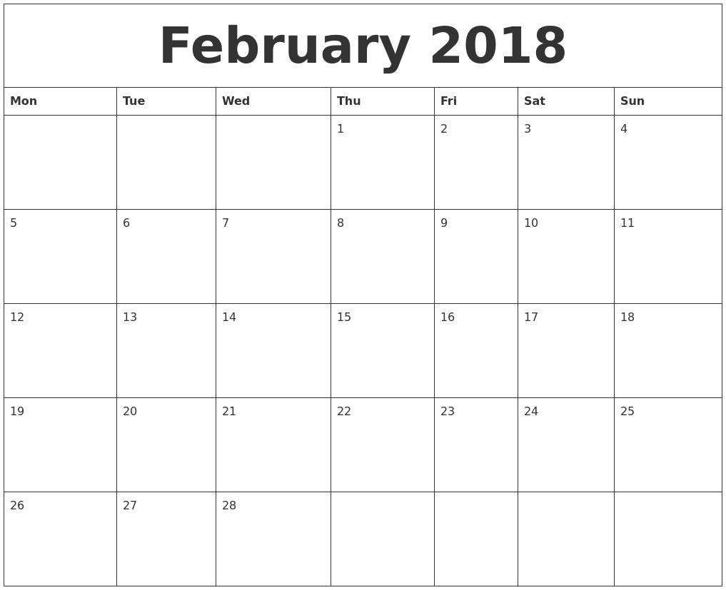 2018 Free Printable Weekly Calendar
