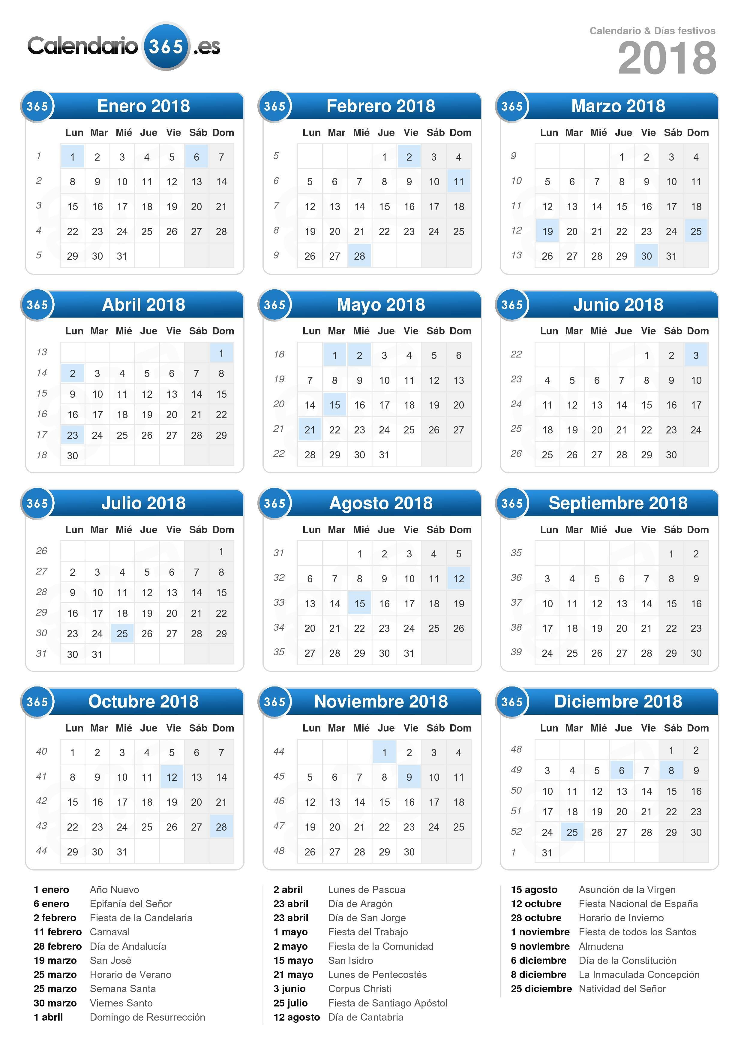 Calendario 2018 para imprimir iCalendario.net