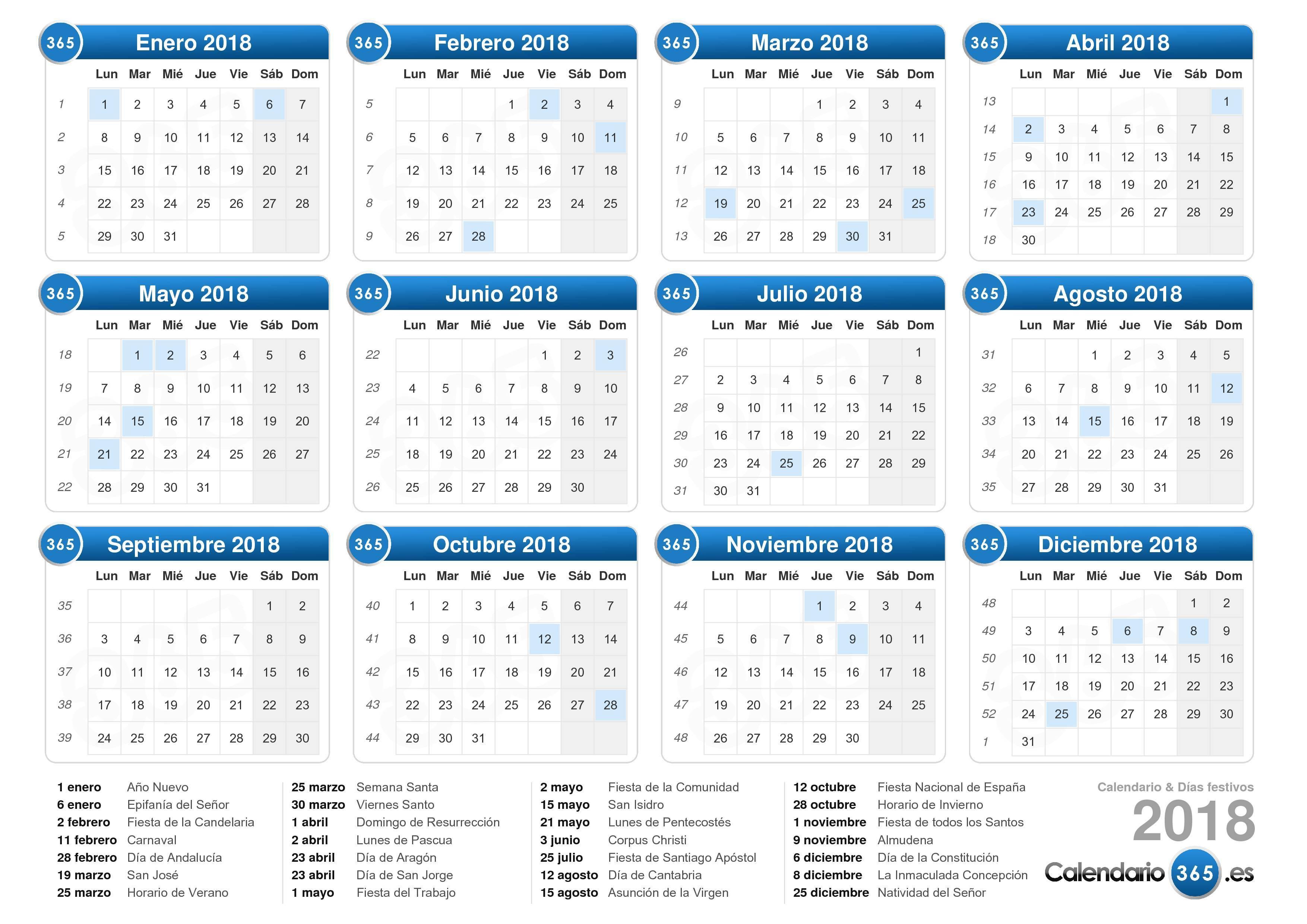 Calendario 2018 en Excel listo para imprimir Excel Total