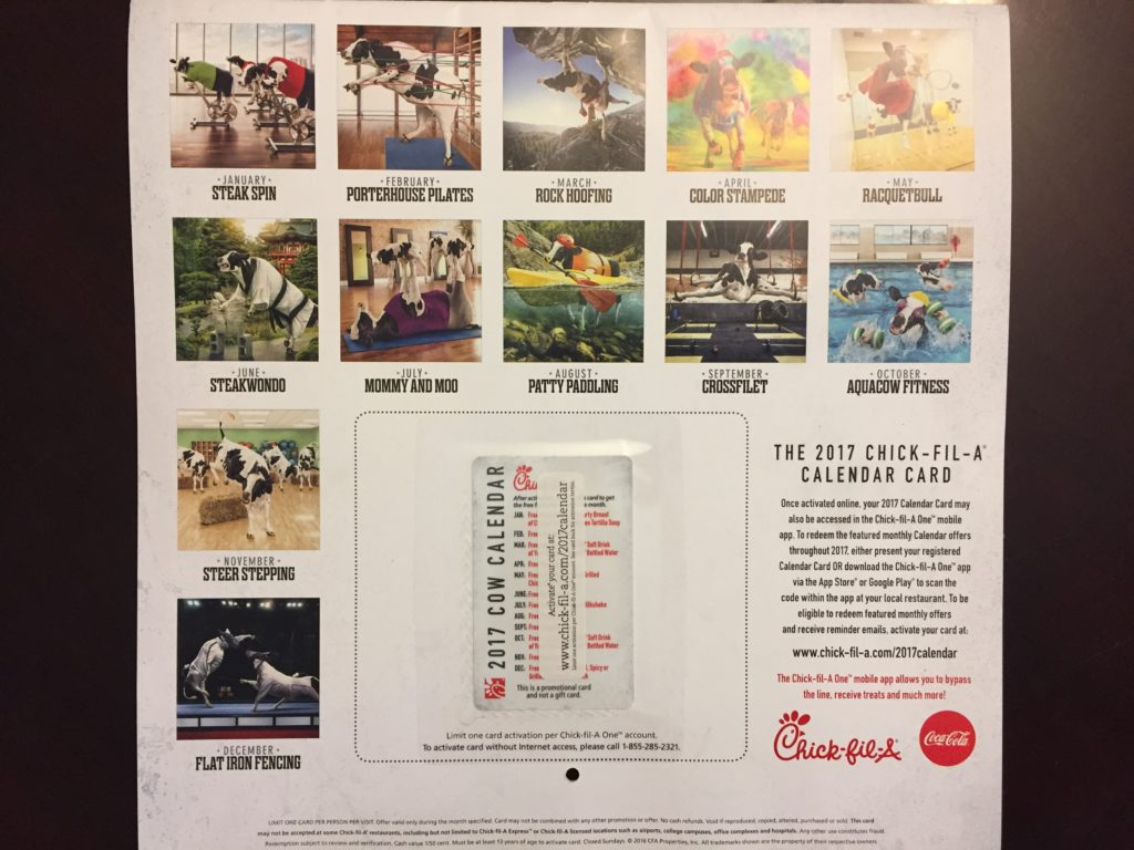 Chick Fil A | 2017 Calendar now Available for Purchase for Only $7