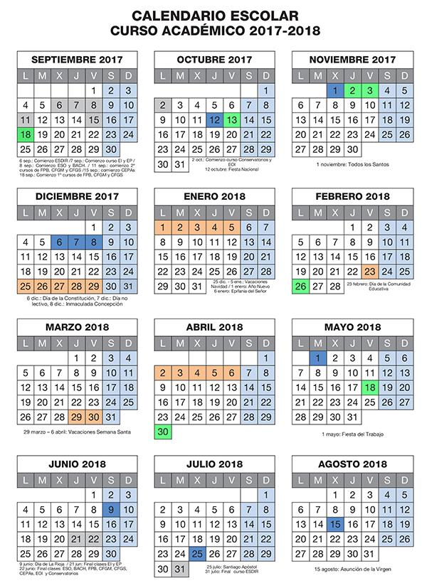 C.E.P.A. Nájera Calendario Escolar