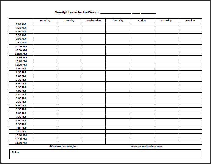Free Printable Weekly Hourly Daily Planner | Student Handouts
