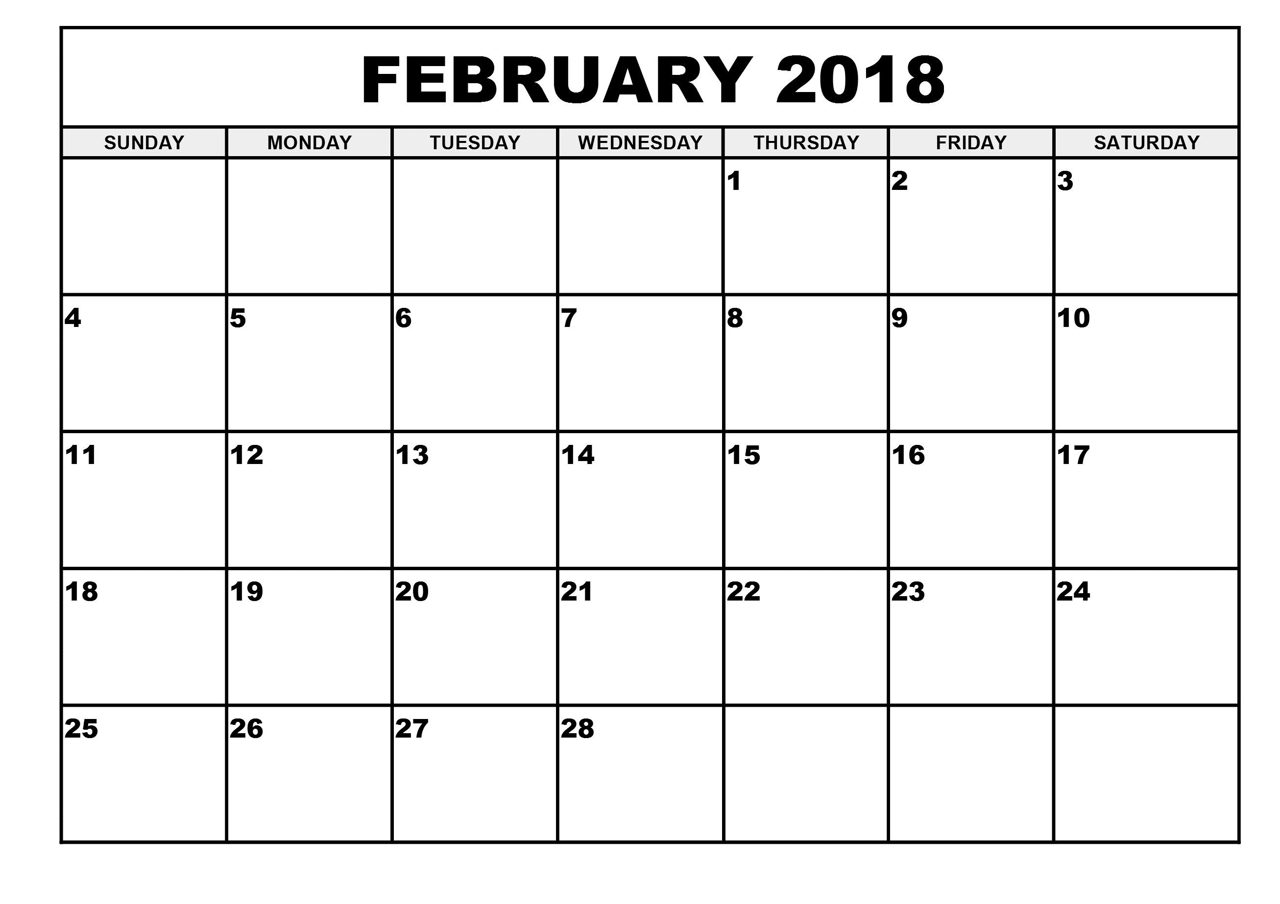 February 2018 Blank Printable Calendar | February 2019 Calendar
