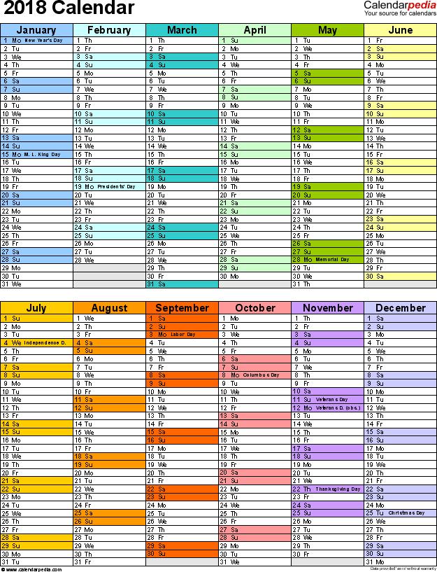 2018 Free Printable Calendars Free Printable Calendars