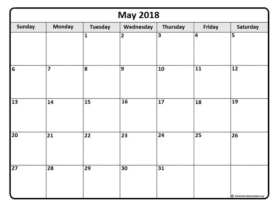 Free Printable Blank Monthly Calendars 2017, 2018, 2019, 2020