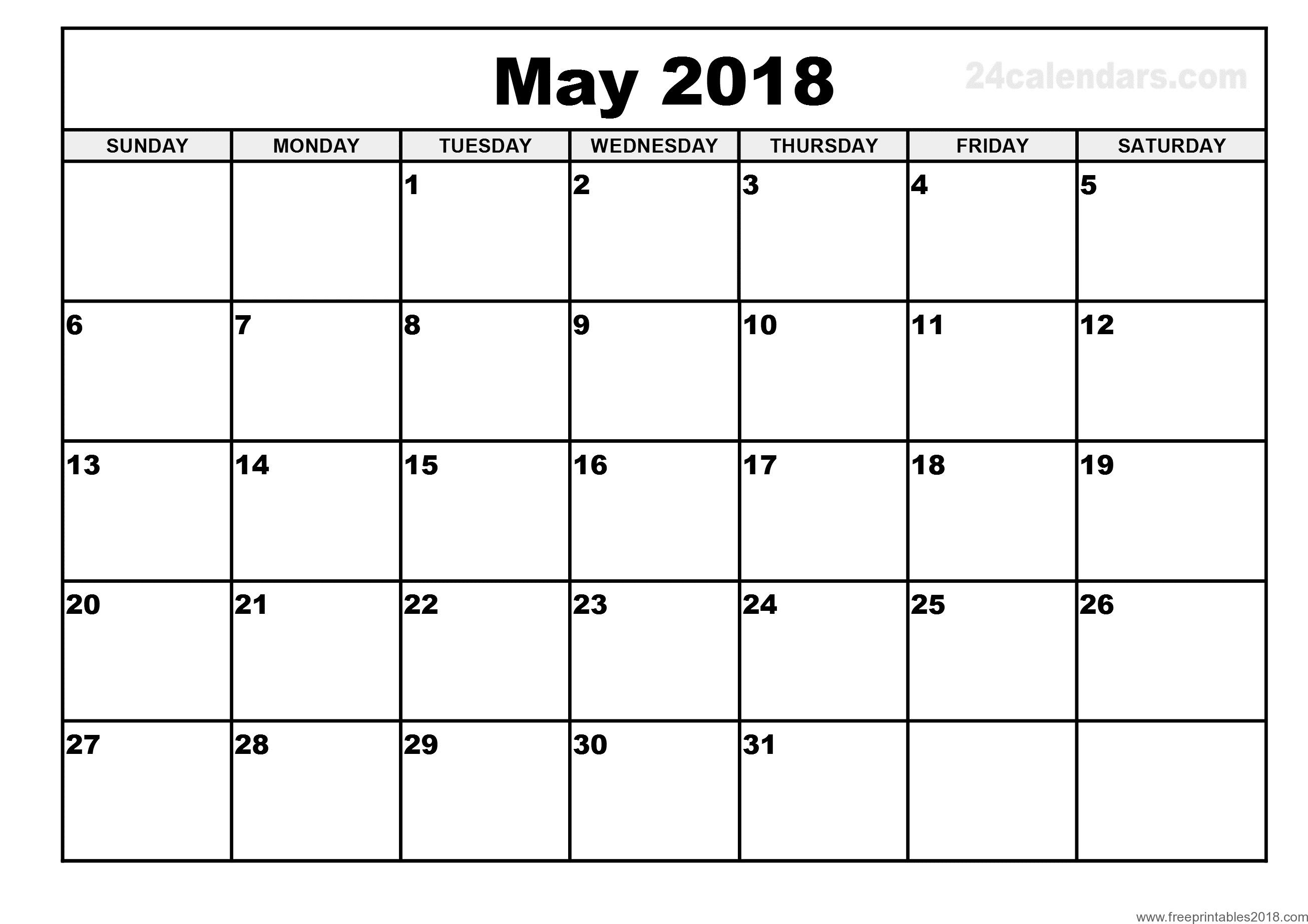 Free Printable Calendar May 2018 | Free Printables 2018
