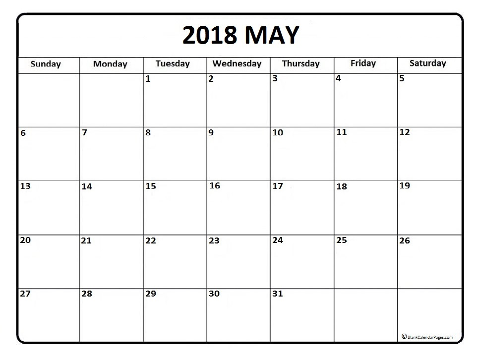 May 2018 calendar template Free printable calendar.com
