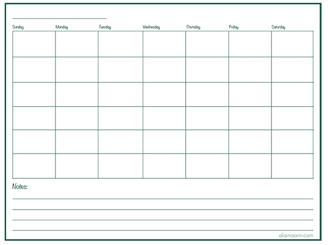 Monthly Calendar :: Organized Home Free Printable :: Alaina Ann