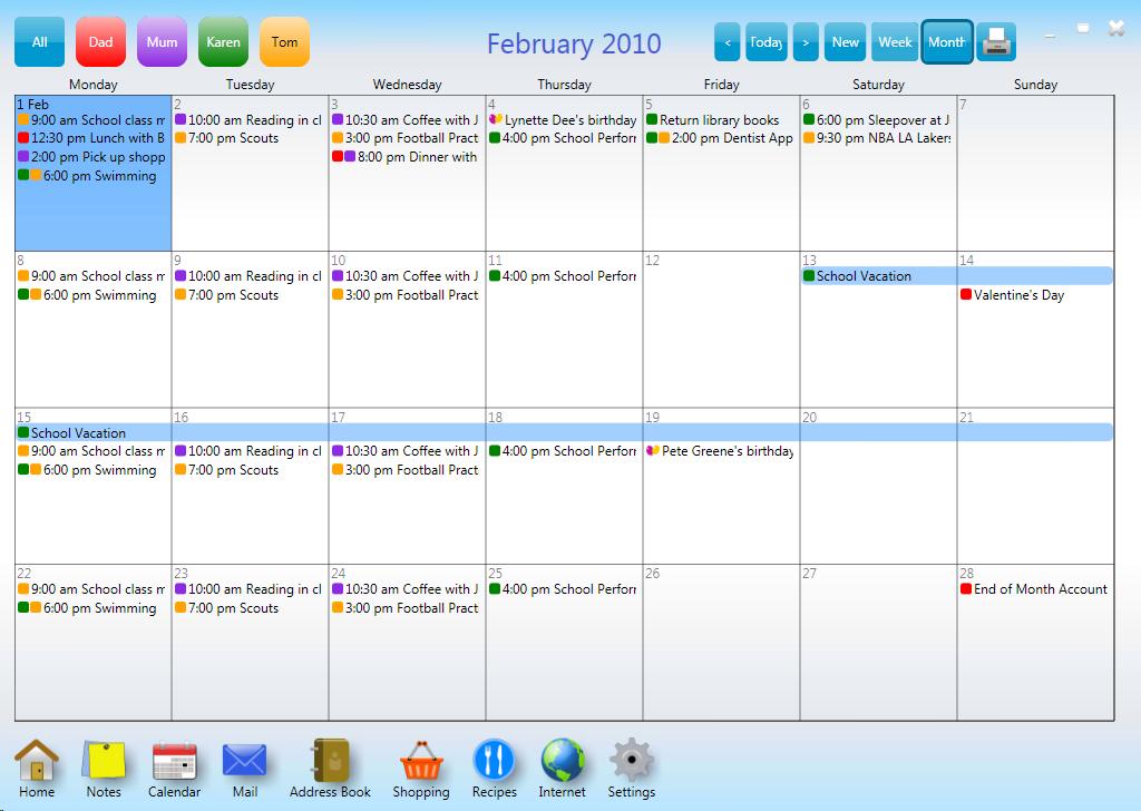 Family Monthly Calendar Family Calendar Kitchenhub Arends Producties