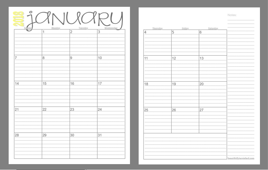 2018 (2 Page) Monthly Calendars FREE | Beautifully Tarnished