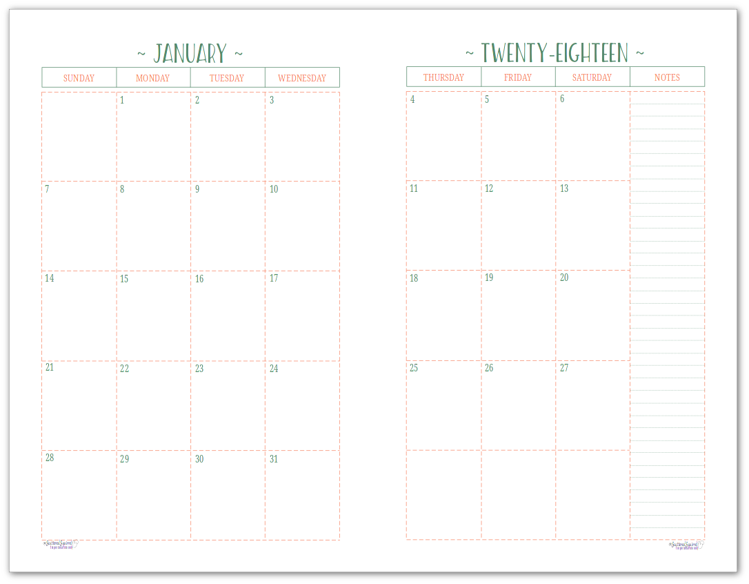 Two Page Per Month 2018 Dated Calendars are Ready