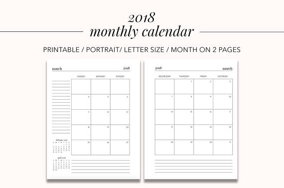 2018 Monthly Calendar Month on 2 Pages Planner Pages