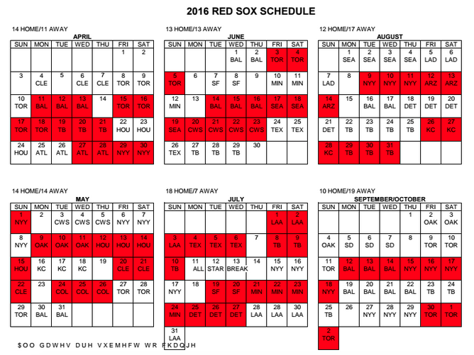 Red Sox Calendar 2017 | Calendar 2017