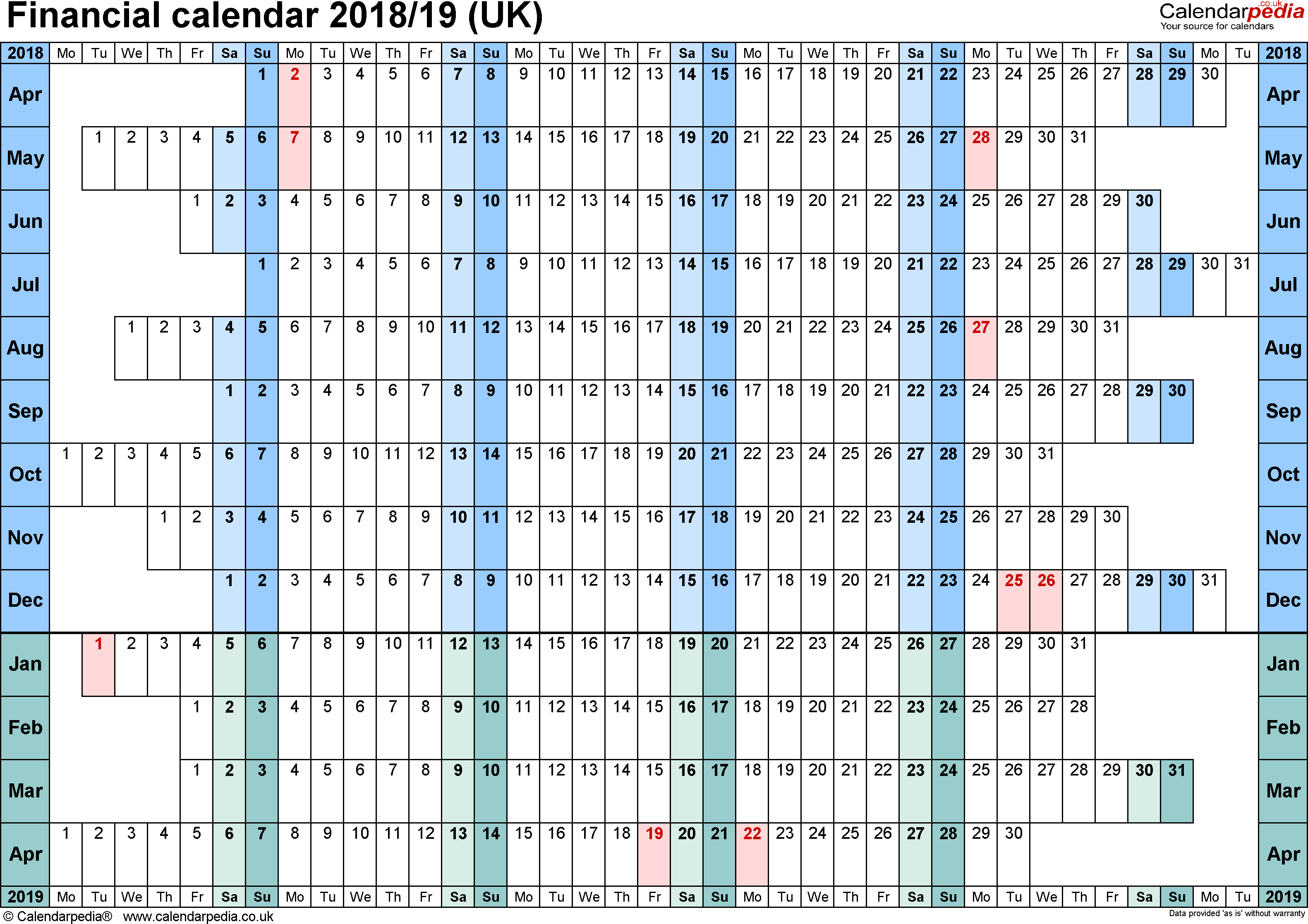 Financial calendars 2018/19 (UK) in PDF format