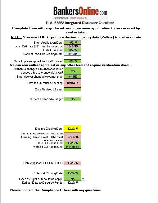 TRID Date Calendar | Bankers Online