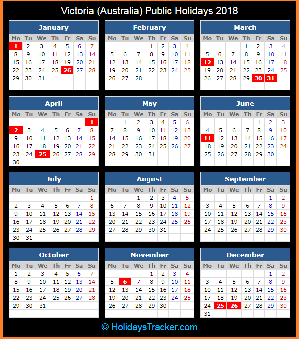Victoria (Australia) Public Holidays 2018 – Holidays Tracker