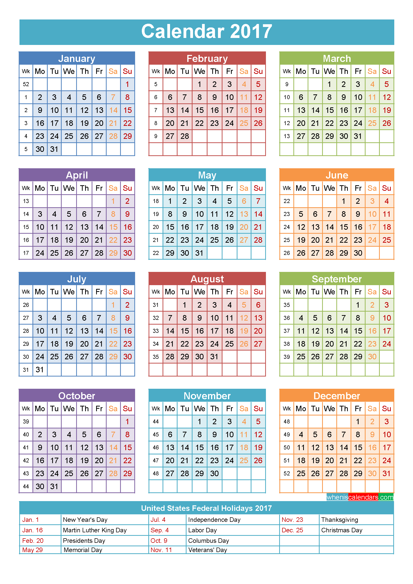 2018 printable yearly calendar with holidays Ideal.vistalist.co