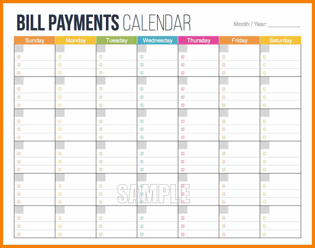 template for paying monthly bills Ideal.vistalist.co