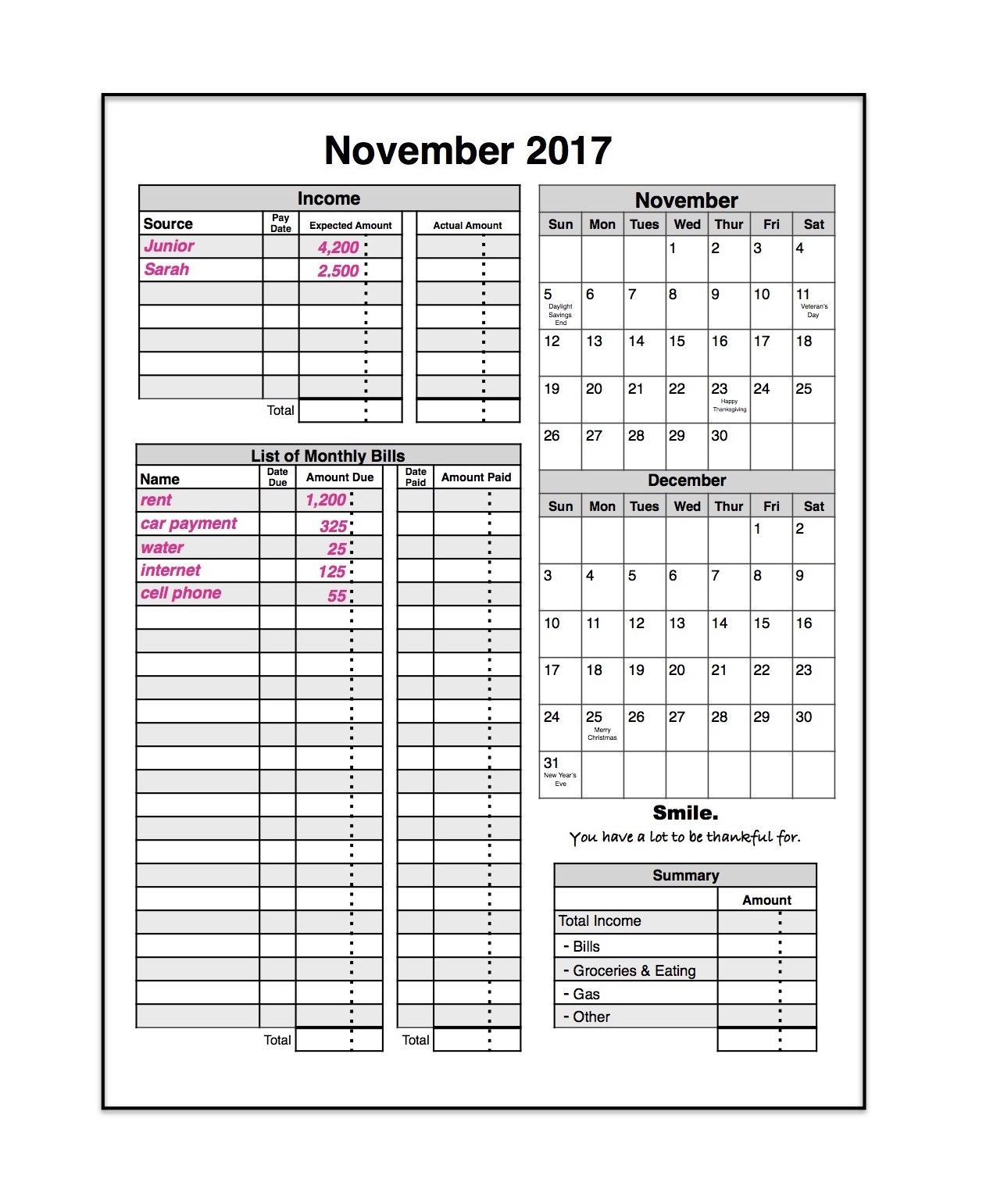bill organizer calendar Ideal.vistalist.co