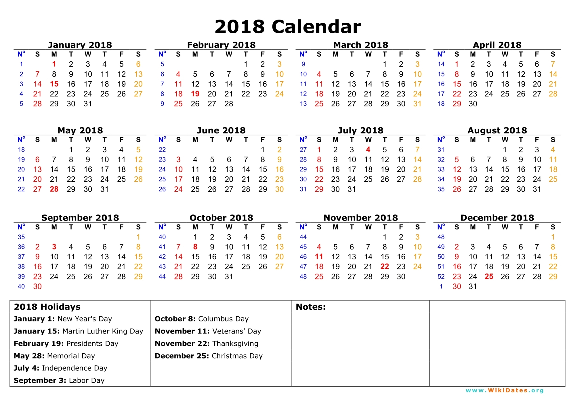 2018 calendar printable with holidays Ideal.vistalist.co