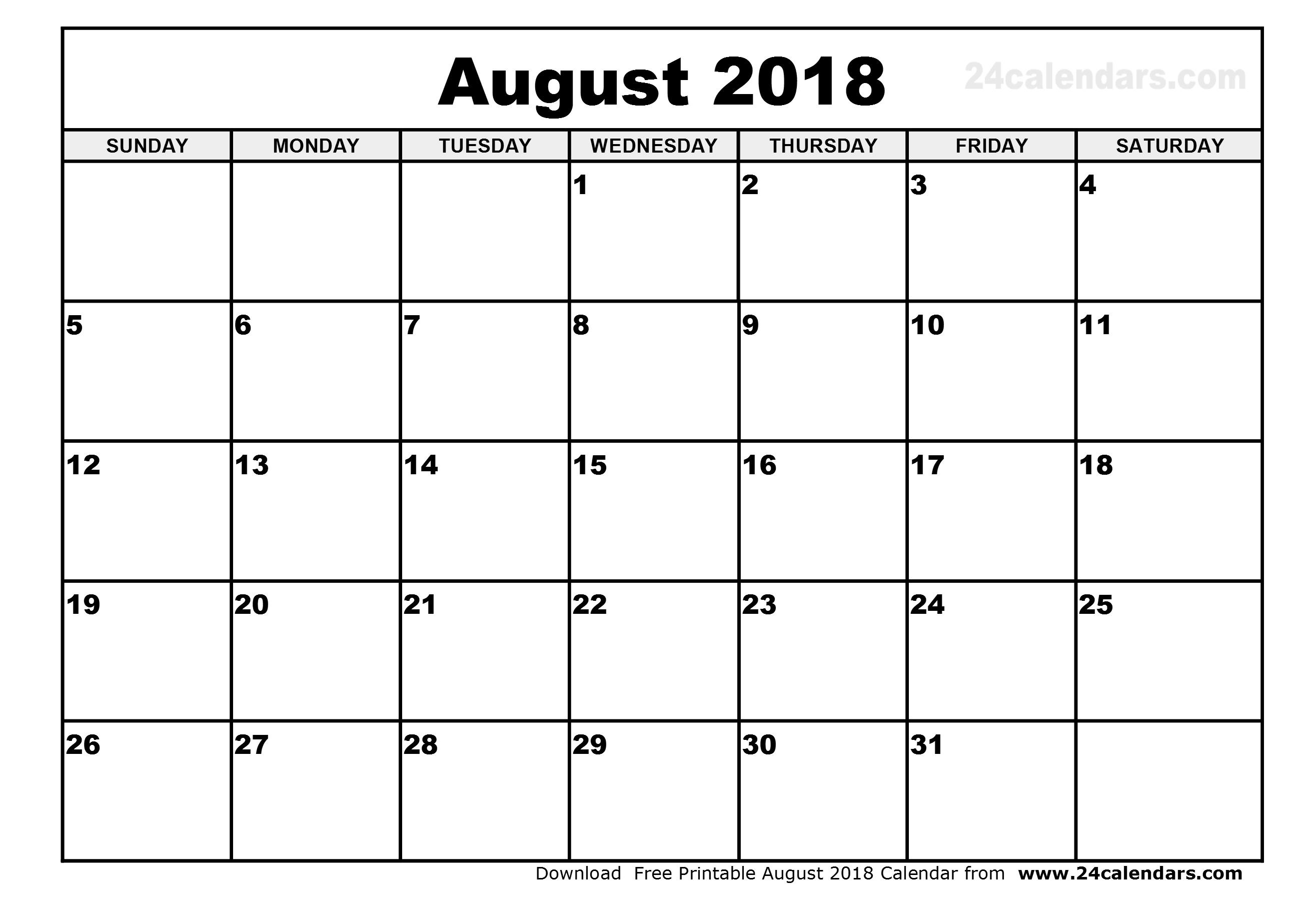 printable august 2018 Ideal.vistalist.co
