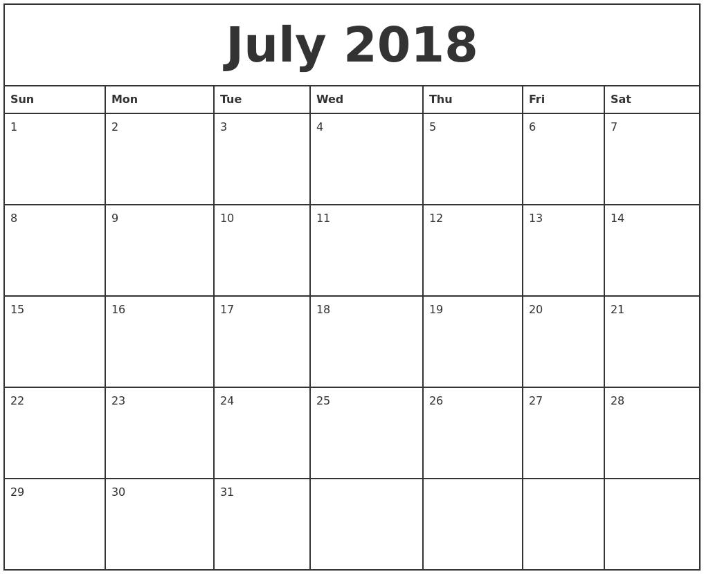 july monthly calendar Ideal.vistalist.co