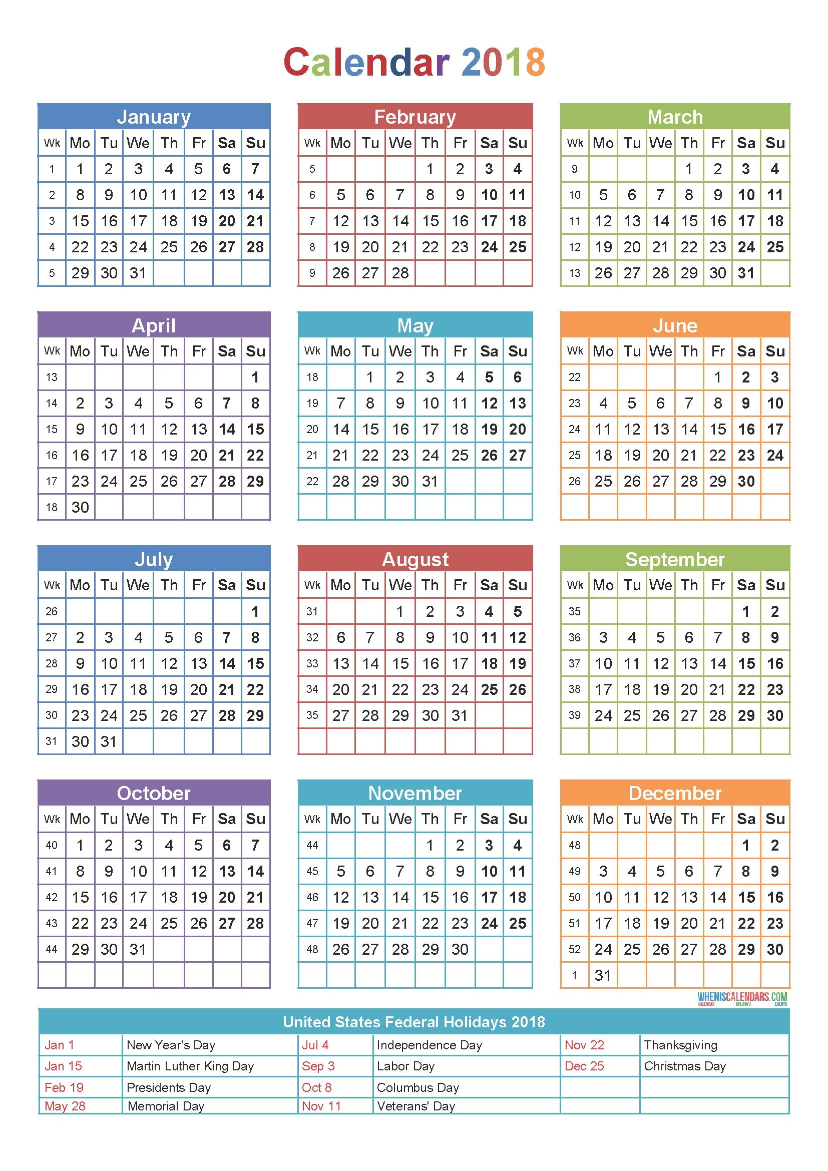 free printable year calendar 2018 Ideal.vistalist.co