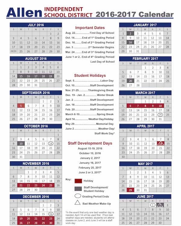 Allen Isd Calendar 2016 2017 | Calendar Template 2018 inside