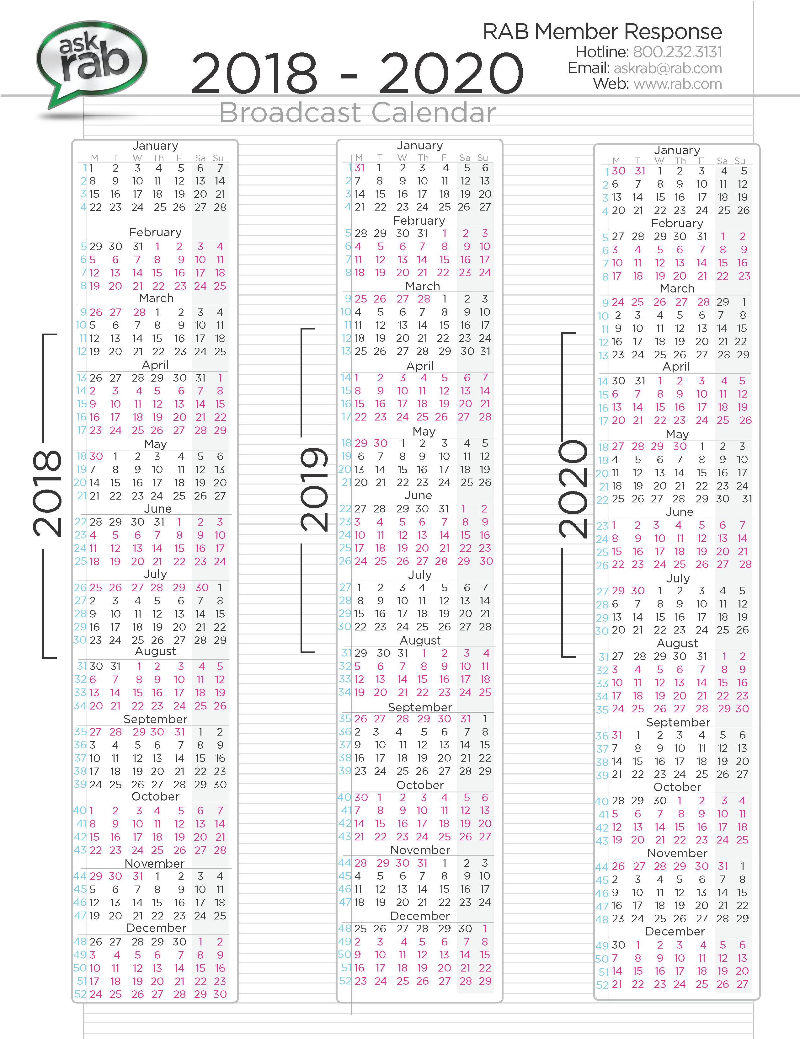 Broadcast Calendars | RAB.com