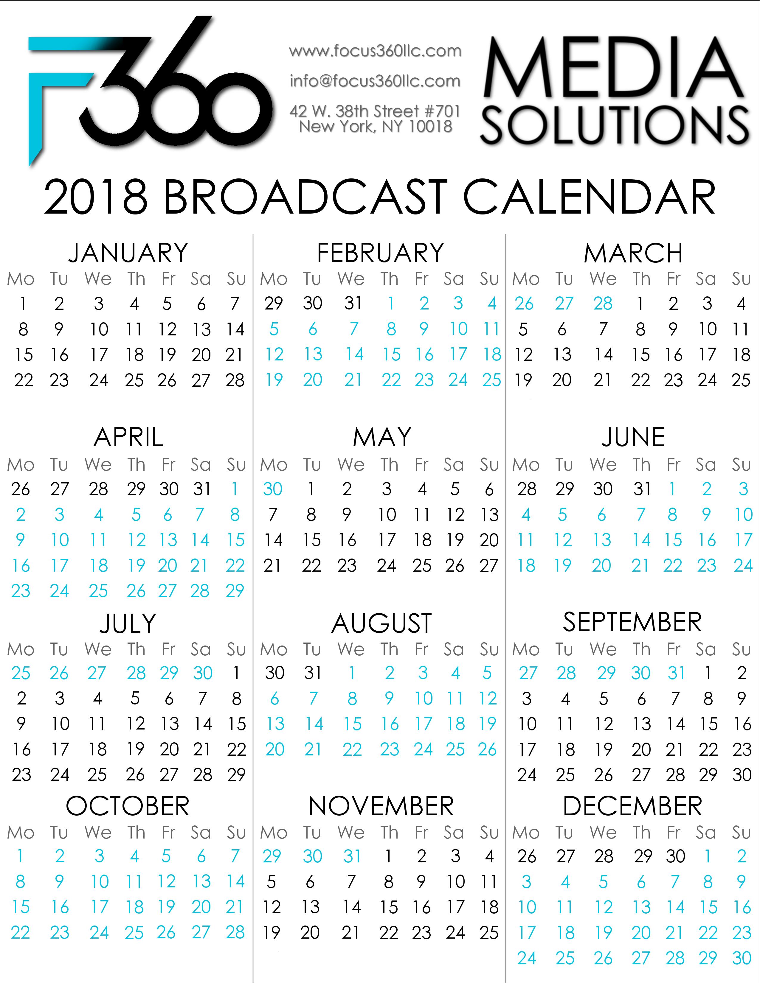 2018 Focus 360 Broadcast Calendar | focus360