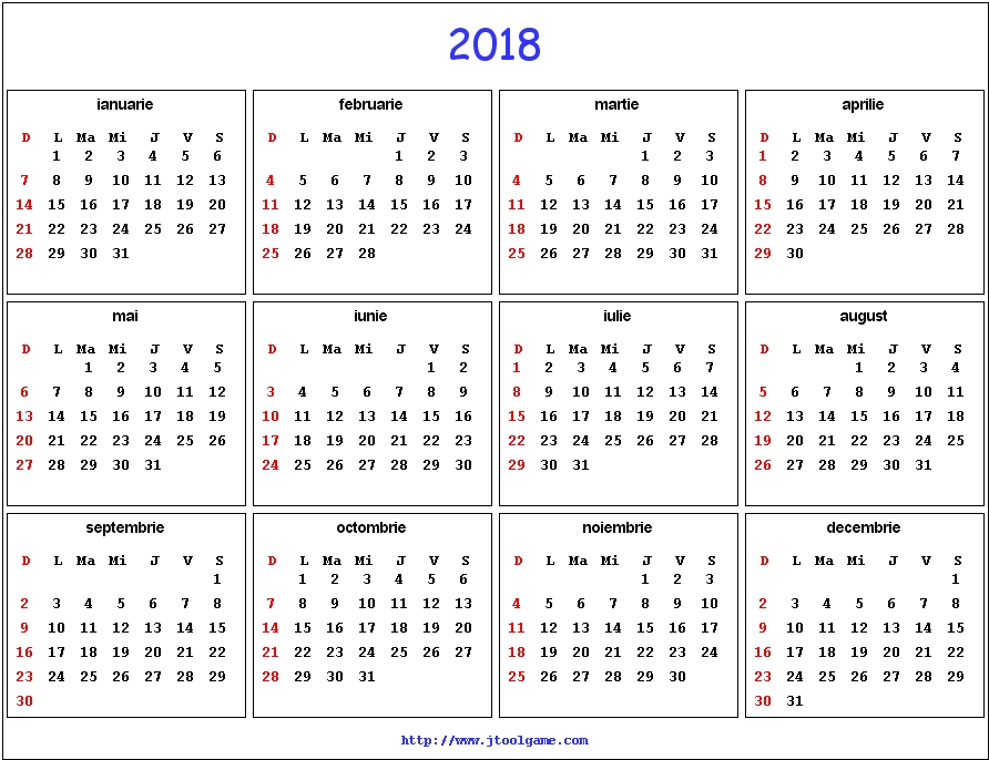 2018 Calendar Romana – Merry Christmas And Happy New Year 2018
