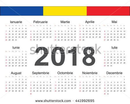 Vector Romanian Circle Calendar 2018 Week Stock Vector (2018