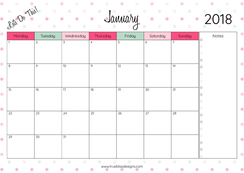 2018 Printable Monthly Calendar