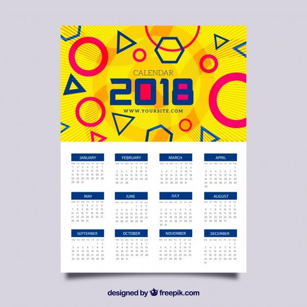 Calendario divertido 2018 con formas geométricas | Descargar