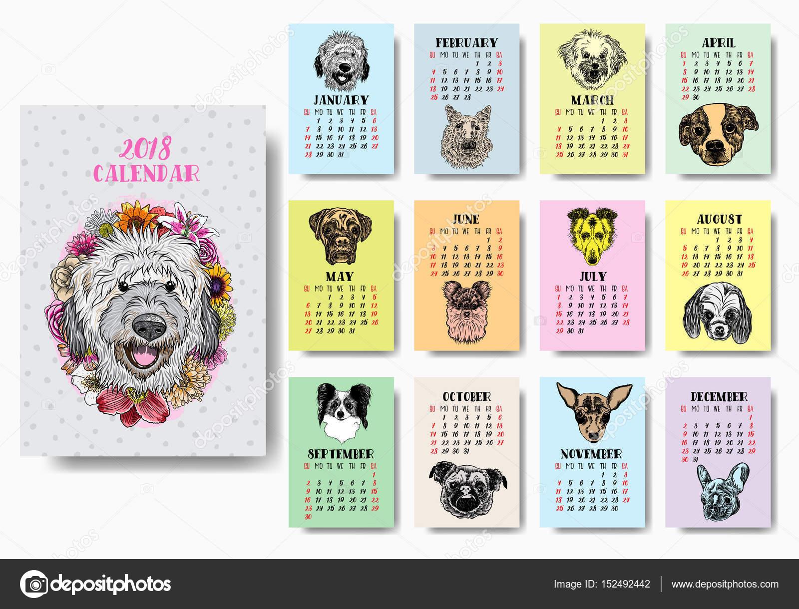 Diseño de calendario 2018 divertido perro feliz — Archivo Imágenes