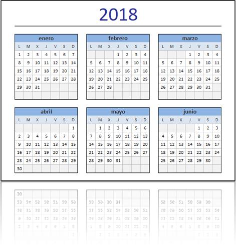 Caledario Excel 2018 Gratis Calendario XLS En Blanco Para Imprimir