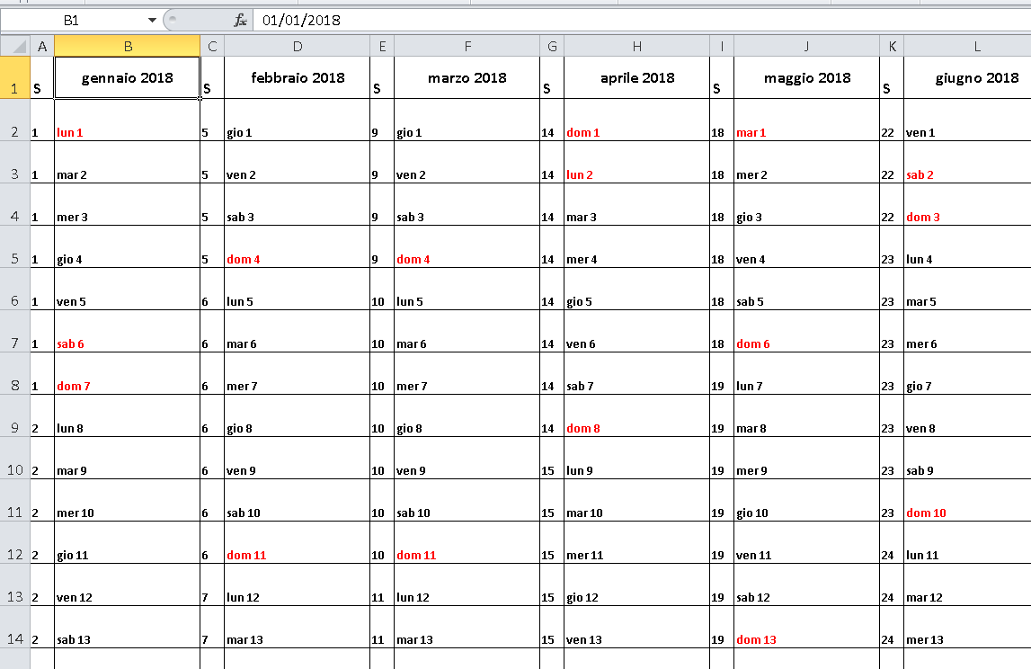 Calendário Excel 2018 Feriados Brasil