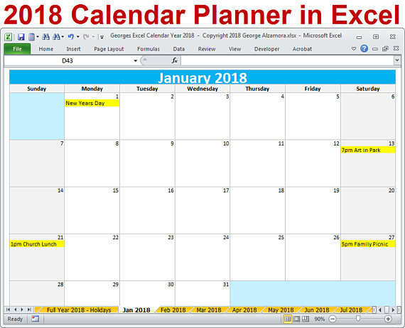 editable 2018 calendar excel Ideal.vistalist.co