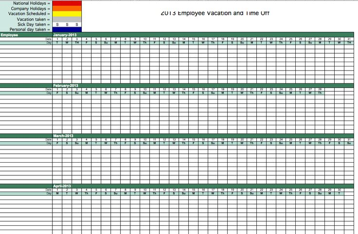 Vacation calendar template excel tracking employee allowed gallery