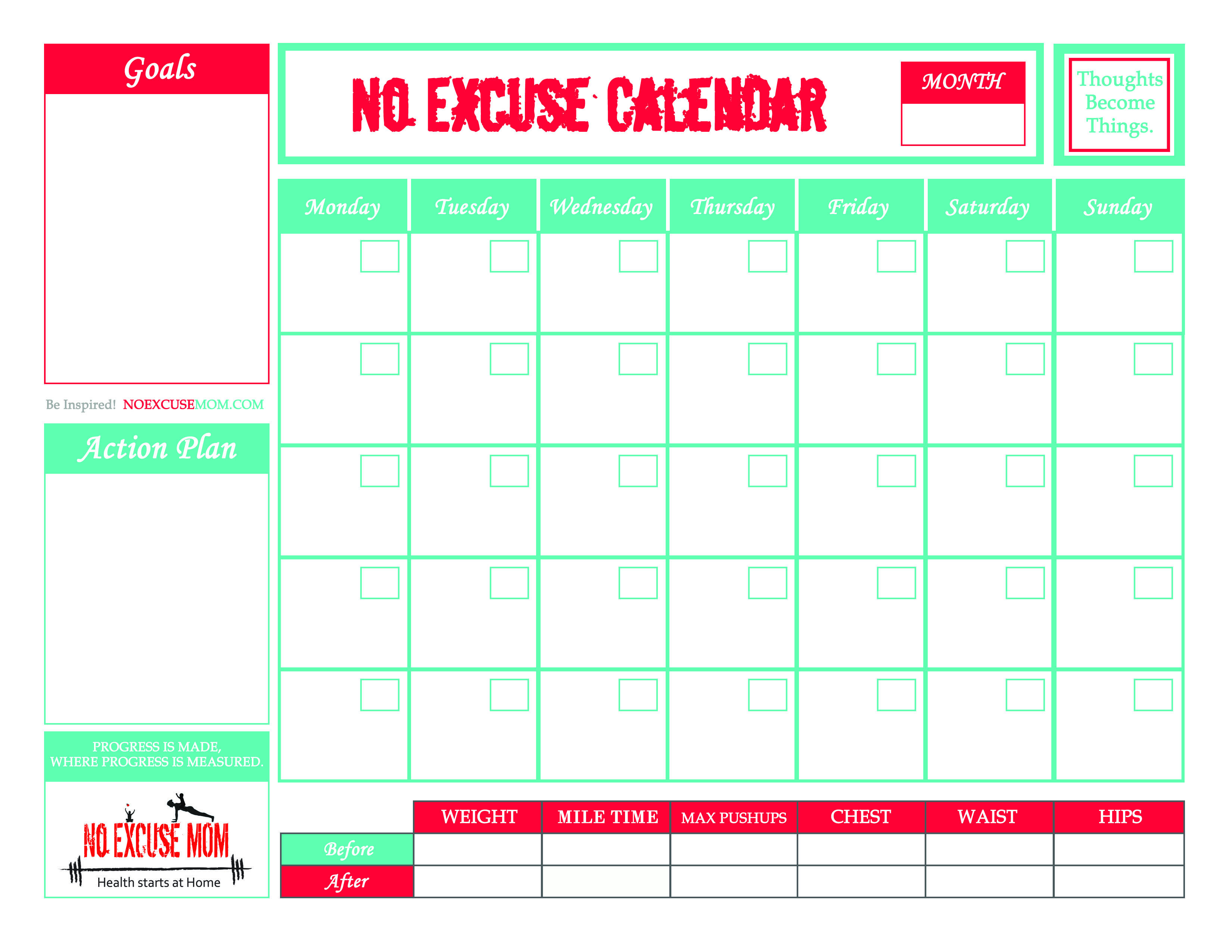 FREE Downloadable Fitness Calendar | No Excuse Mom