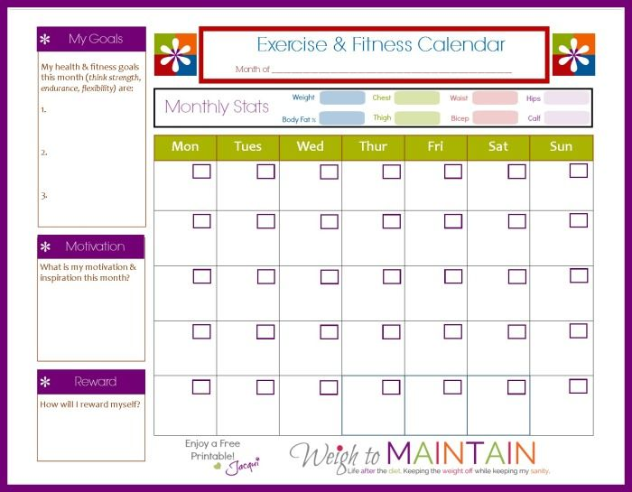 fitness calendar template printable workout calendar