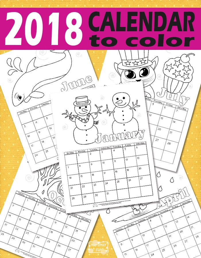 Printable Calendar for Kids 2018 | Free printable calendar