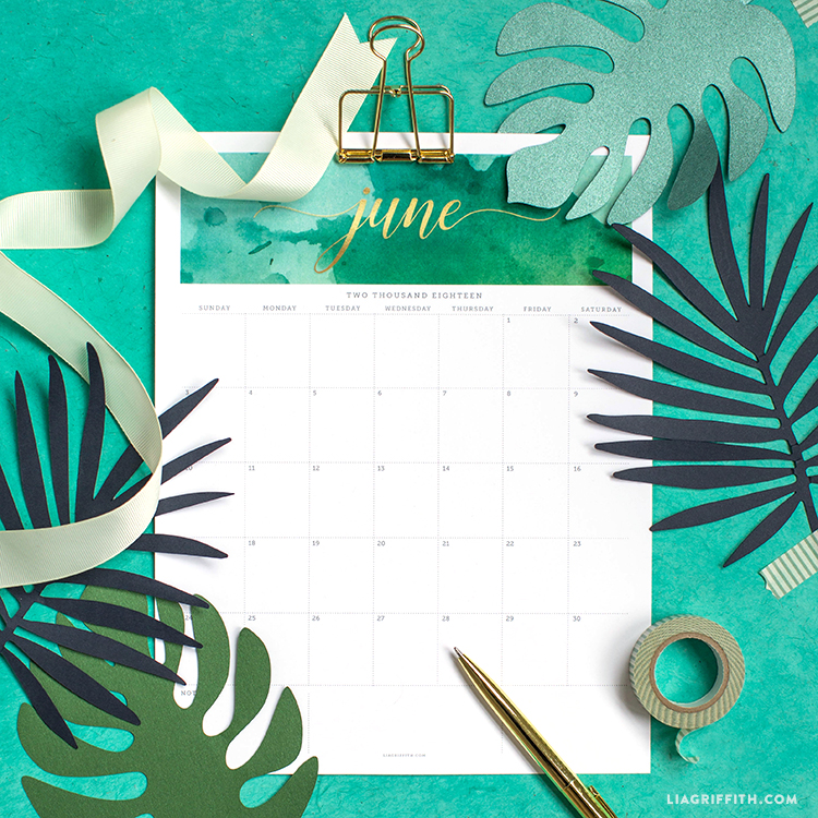 FREE Printable June 2018 Calendar Download and Print