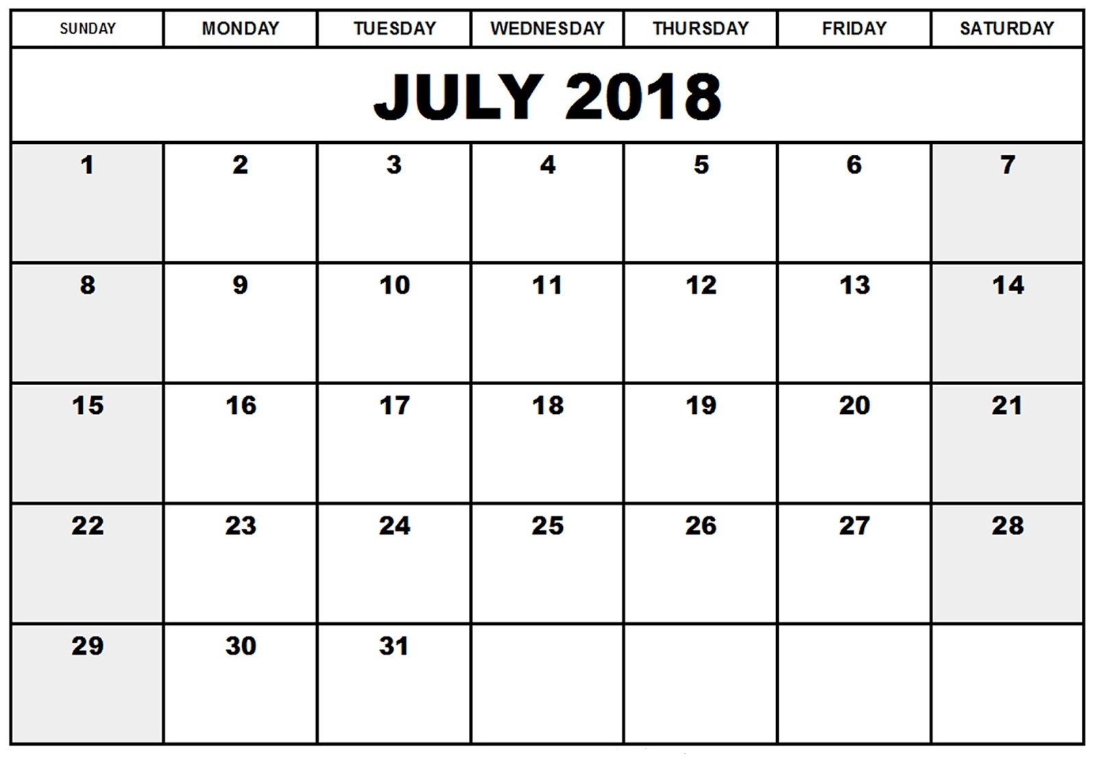 Free July 2018 Calendar in Printable Format Templates Calendar