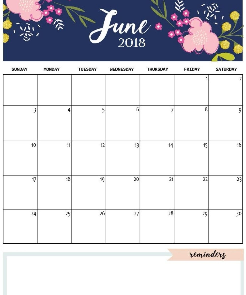 Free Printable June 2018 Calendar | Printable 2018 Calendar