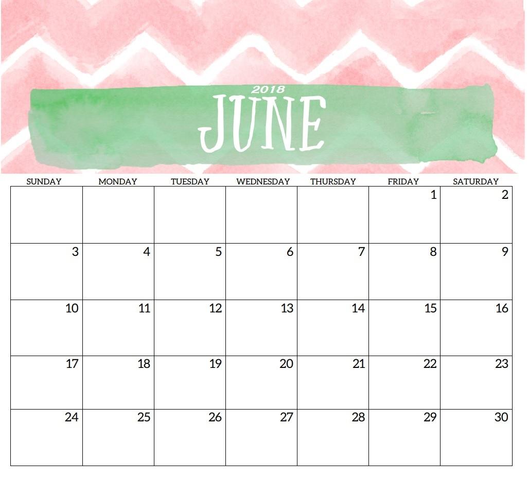 June 2018 Desk Cute Calendar Free Printable – Free Printable