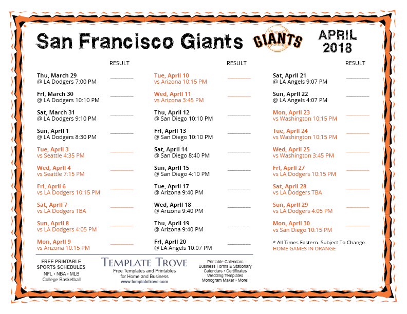 Printable 2018 San Francisco Giants Schedule
