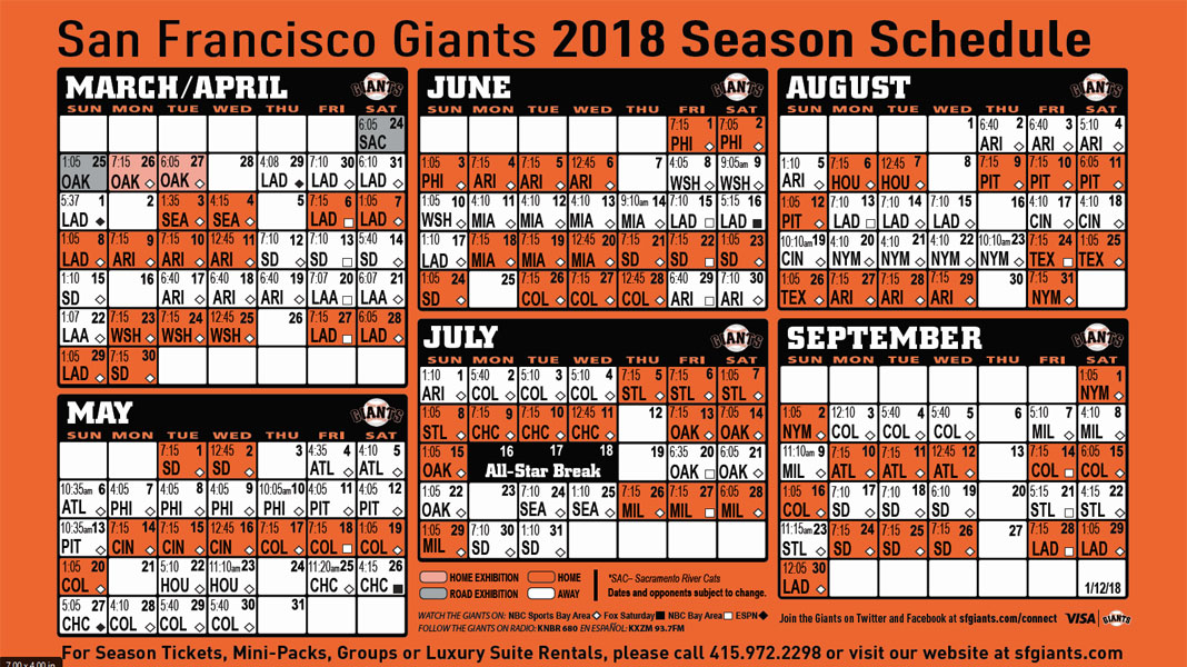 Giants Printable Schedule | San Francisco Giants